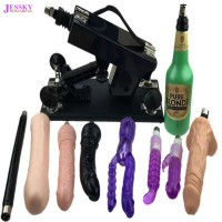 Couples Masturbation Sex Machine with Vagina Cup and 8PCS Dildo Attachments Black